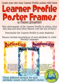 IB Learner Profile Poster Frames with Descriptions - Bubbles