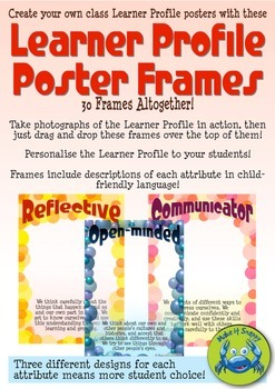 IB Learner Profile Poster Frames with Descriptions - Bubbles