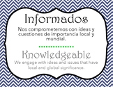 IB Learner Profile Spanish & English - Blue chevron background