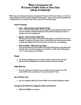 IB Learner Profile Trait Activities