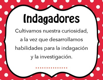 IB Learner Profile in Spanish only - polka dot (letter size)