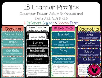 IB Learner Profiles Quotes and Reflections Posters