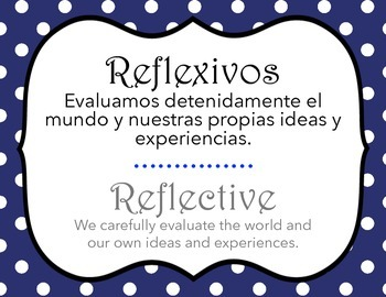 IB Learner profile in Spanish and English polkadot (letter size)