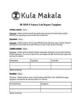 IB MYP 5 Sciences Lab Report Template