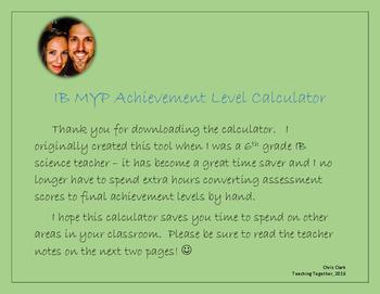 IB MYP Achievement Level Calculator