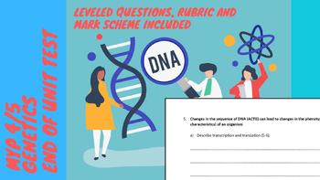 IB MYP Biology Genetics Unit Test and Mark Scheme