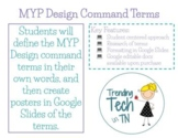 IB MYP Design Command Terms Worksheet and Posters using Google Docs & Slides