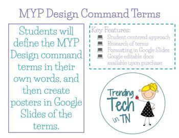 IB MYP Design Command Terms Worksheet and Posters using Go