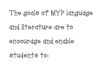 IB MYP Language and Literature AIMS
