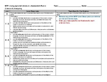 IB MYP Language and Literature - Assessment Rubric - Year 3
