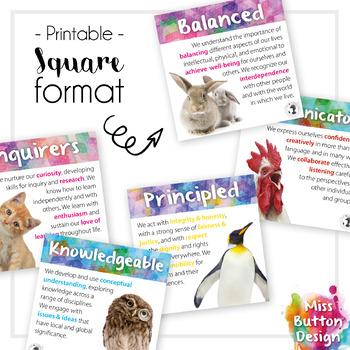 IB MYP Learner Profile Square Posters