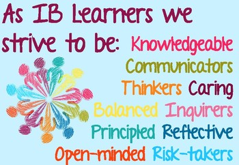 IB MYP Learner Profile attributes posters blue
