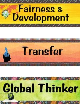 IB MYP Program Labels (ATL Skills, Global Contexts, Key Concepts, & more)