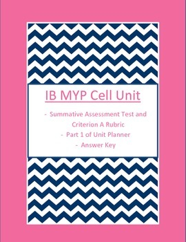IB MYP Science Cell Unit Test