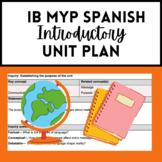 IB MYP Spanish Introductory Unit Plan
