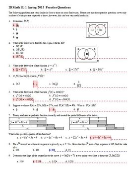 IB Math SL 1 Final Exam Practice Questions Spring 2013; partial answer key
