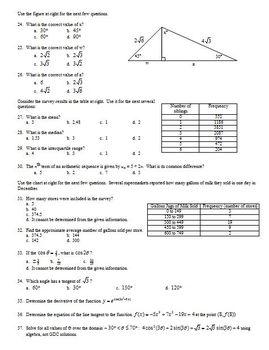 IB Math SL 1 Final Exam Practice Questions Spring 2013