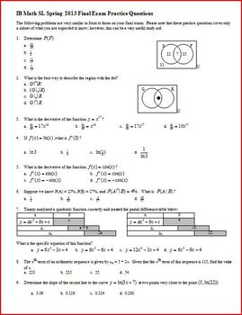 IB Math SL Final Exam Spring 2012 Review Questions - Multiple-Choice with Key