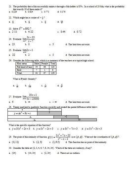 IB Math SL Final Exam Spring 2013 - Multiple-Choice with Key