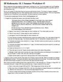 IB Math SL (Math Methods) Summer Worksheet 5 (Editable)
