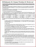 IB Math SL (Math Methods) Summer Worksheet 6 (Editable)