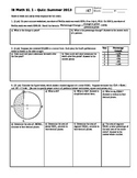 IB Math SL Quiz Summer Worksheets 2013 (Editable)