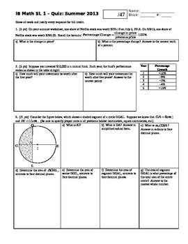IB Math SL Quiz Summer Worksheets 2013