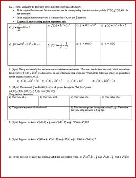 IB Math SL Quiz: Venn Diagrams Power Rule Derivatives Probability - 2 Versions