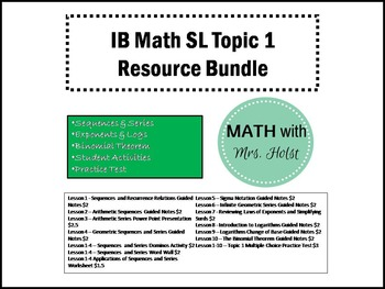 IB Math SL Topic 1 Resource Bundle
