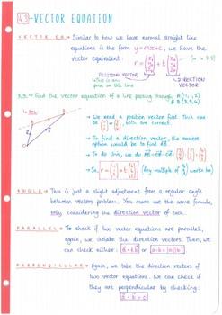IB Math SL - Topic 4 - Vectors - Notes