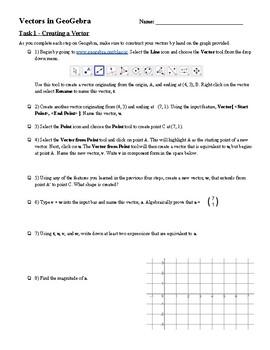IB Math SL Vectors In GeoGebra