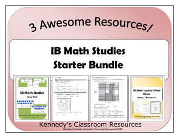 IB Math Studies 1 Starter Bundle - Assessments and Word Wall