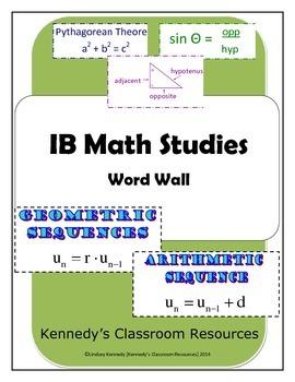 IB Math Studies - Complete Word Wall