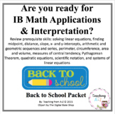 IB Math Studies Readiness Summer or Back to School Packet