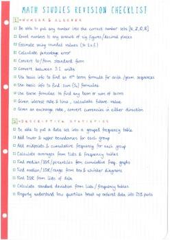 IB Math Studies SL - Revision Checklist