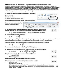 IB Mathematics SL Worksheet 1 Equation Editor in Word Summer 2013 (Editable)