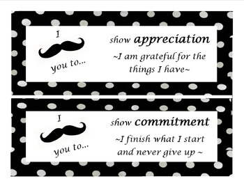 IB Mustache with polka dot themed posters bundle