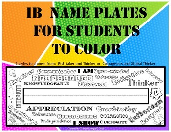 IB PYP Name Plates to Color for Attitudes and Attributes