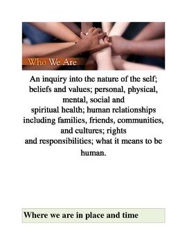 IB Transdisciplinary Themes Posters PYP