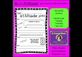 IB PYP Attitudes goal-setting / reflection sheet