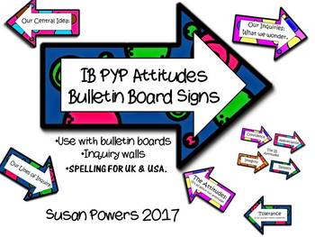 IB PYP Bulletin Board Signs for the Attitudes