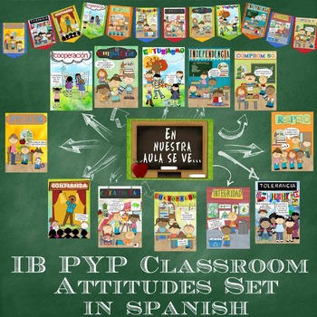 IB PYP Classroom Attitudes Poster & Banner Set in Spanish for US Paper