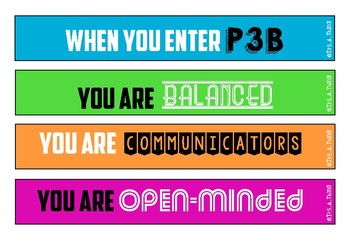 """IB PYP Door display """"When you enter is this classroom"""""""