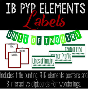 IB PYP Essential Elements Bulletin Board Labels and Unit of Inquiry Bunting