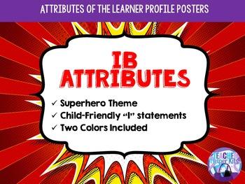 IB PYP Learner Attributes Superhero Posters