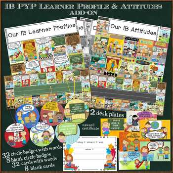 IB PYP Learner Profile & Attitudes Add-on Set for A4 Paper