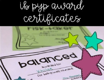 IB PYP Learner Profile Attribute Award Certificates