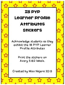 IB PYP Learner Profile Attribute Stickers