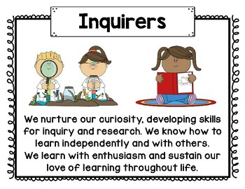 IB PYP Learner Profile Poster Set with Graphics