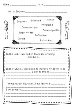 IB PYP Learner Profile Quick Reflection